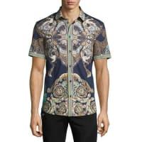 Versace CollectionBaroque Short-Sleeve Sport Shirt, Navy