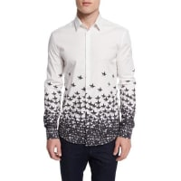 Versace CollectionGradient Star-Print Woven Sport Shirt, White Multi