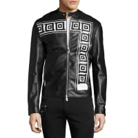 Versace CollectionGreek Key Leather Cafe Racer Jacket, Black