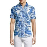 Versace CollectionWatercolor Baroque Short-Sleeve Sport Shirt, Blue