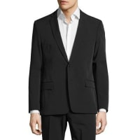 Versace CollectionWoven Solid Two-Button Suit, Black