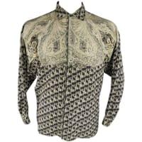 VersaceMens Size Xs Beige & Black Paisley Silk Long Sleeve Shirt