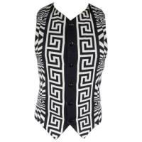 VersaceVintage Gianni Versace Mens 40 Black & White Geometric Print Viscose Blend Vest