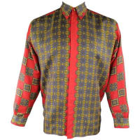 VersaceVintage Gianni Versace Mens Size M Red & Gold Scarf Print Long Sleeve Shirt