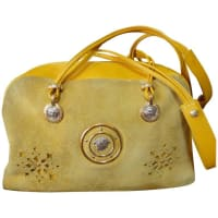 VersaceVintage Rare Gianni Versace Yellow Suede And Leather Bag With Cut Out Design