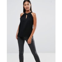 VesperSleeveless Keyhole Top With Twist Neck - Black