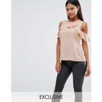 VesperCold Shoulder Top With Frill Detail - Nude