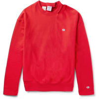 VETEMENTS+ Champion Oversized Distressed Cotton-blend Jersey Sweatshirt - Rot