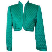 Victor Costa1970s Victor Costa Vintage Quilted Satin Green Bolero Cropped Jacket S