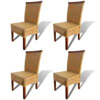 vidaxlEetkamerstoelen handgeweven rattan met decoratieve houten strip 4 stuks