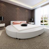 vidaxlRond kunstleren bed frame 200 x 180 wit