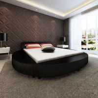 vidaxlRond kunstleren bed frame 200 x 180 zwart