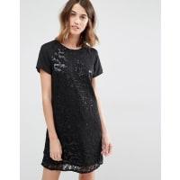 VilaAll Over Embelished Shift Dress - Black