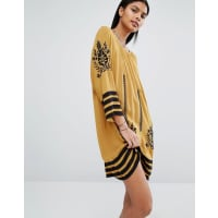 VilaEmbroidered Tunic Dress - Brown