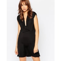 VilaLace Back Wrap Front Dress - Black