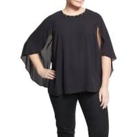 Vince Camuto PlusEmbellished Cape-Sleeve Blouse, Black, Plus Size