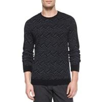 VinceChevron-Print Crewneck Sweater, Charcoal