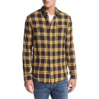 VinceFrayed-Edge Plaid Western Shirt, Blue/Yellow