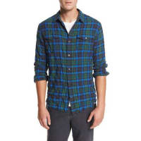 VinceFrayed-Hem Plaid Western Shirt, Green/Blue