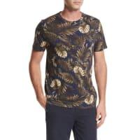 VinceLeaf-Print Crewneck Pima Cotton T-Shirt, Navy