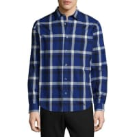 VinceMelrose Plaid Long-Sleeve Sport Shirt, Blue
