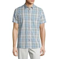 VinceMelrose Plaid Short-Sleeve Shirt, White/Blue