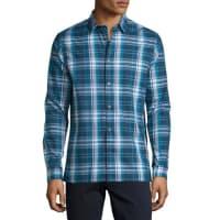 VincePlaid Long-Sleeve Sport Shirt, Navy