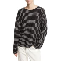 VinceRelaxed Long-Sleeve Crewneck T-Shirt, Black/White Stripes