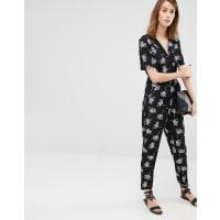 WarehouseStencil Floral Jumpsuit - Black