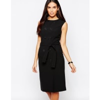 WarehouseButton Down Tie Waist Shift Dress - Black