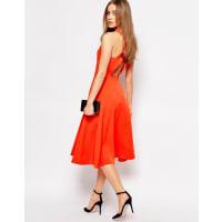 WarehouseCross Back V Neck Dress - Orange