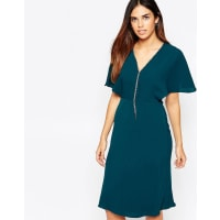 WarehouseDiamonte V Front Mini Dress - Green