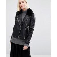 WarehouseFaux Fur Collar Leather Look Jacket - Black