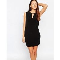WarehouseFaux Leather Trim Dress - Black