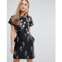 WarehouseFloral Print Jacquard Mini Dress - Pink