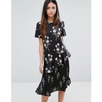 WarehouseFloral Printed Ruffle Midi Dress - Black