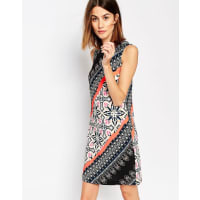 WarehouseLatina Striped Printed Shift Dress - Multi