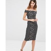 WarehouseOff the Shoulder Premium Lace Pencil Dress - Multi