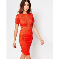 WarehousePanelled Lace Dress - Orange