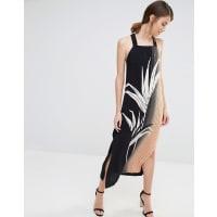 WarehousePalm Print Pinafore Dress - Multi