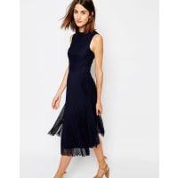 WarehousePleated Lace Midi Dress - Navy