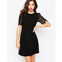 WarehouseLace Sleeve Button Front Dress - Black