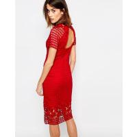 WarehousePremium Lace Pencil Dress - Red