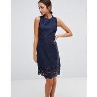 WarehouseSleeveless Lace Dress - Navy