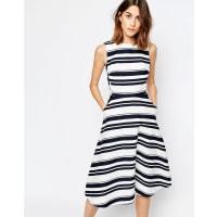 WarehouseStripe Midi Dress - Multi