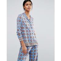 WarehouseTile Print Pyjama Blouse - Blue