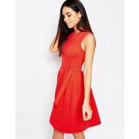 WarehouseBelted Skater Dress - Red