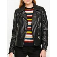 WhistlesCarmen Leather Biker - Black, Size 16