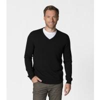 WoolOversMens Pure Cashmere V Neck Jumper XL Black