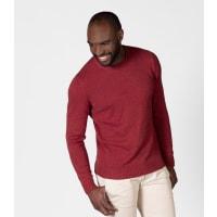 WoolOversMens 100% Cotton Twist Crew Neck Jumper XXXL Garnet